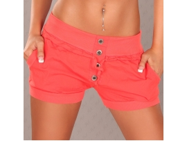 SEXY SHORT SHORTS WITH BUTTONS AND POCKETS - CORAL