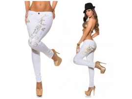 KOUCLA KAVBOJKE SKINNIES WITH PRINT WHITE